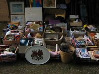 LARGE HOUSE CLEARANCE JOB LOT 20+ BOXES ELECTRICAL GOLF BAG CDS DVDS PICTURES BOOKS BRIC BRAC TOYS