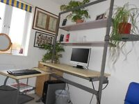 Large Italian designer pine coloured desk
