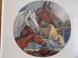 """""""Morning Call"""" (horses/cockerel) cross-stitch picture (unframed)"""