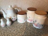 Tea Pot, Storage Jars and salt/pepper holders