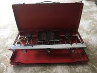 Two Burner camping Gas Stove with Grill in Foldup Red Case
