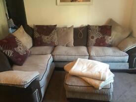 Fabric corner sofa pillow backed