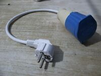 EU Mains electric hook up adaptor 16A Socket - 13A Plug 240V Caravan Converter