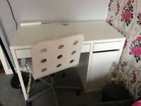 Ikea White Desk and Computer Chair. £45