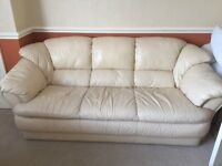 Cream 3 piece suite Italian leather 3 seater sofa & 2 chairs