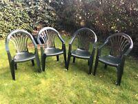 4 Green Garden Plastic Patio Chairs