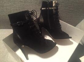 New - Wallis Black Lace Up Boots