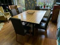 Solid Maple Large Dining table & 6 brown leather chairs