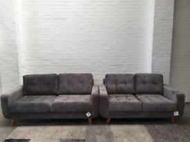 Grey Fabric Small 3+2 Seater Sofas