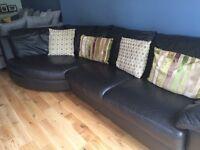 Leather corner sofa - black