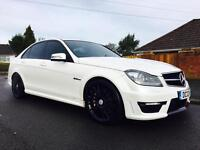 2012 MERCEDES C63 AMG LOW MILES FULL MB SERVICE HISTORY PEARL WHITE SALOON 456BHP MAY PX