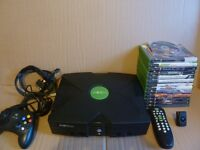 xbox original bundle. Console + 14 games + DVD remote control + controller + all the leads