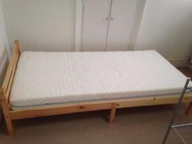 Single Wooden Bed + Mattress