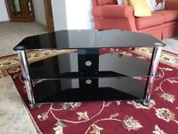 TV table - Black glass 3 tier