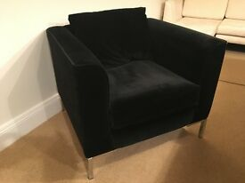 Modern Contemporary Brushed Velvet Cube Armchair/Chair with Chrome Legs