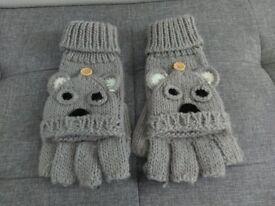 Soft Grey Fingerless Gloves/Mittens