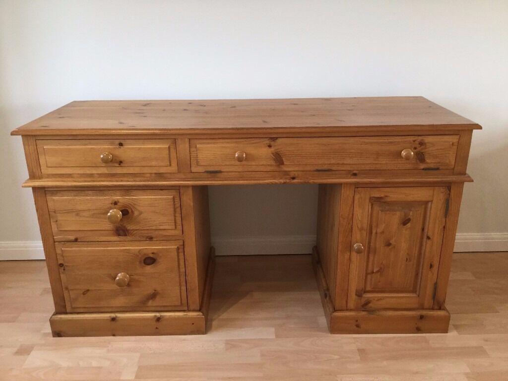 Double Pedestal Antique Pine Desk, 5ft long, excellent condition, deep  drawer for hanging - Double Pedestal Antique Pine Desk, 5ft Long, Excellent Condition