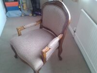 Quality upholstered carved wooden framed accent chair