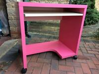 Pink computer desk with matching pink chair (Ikea)