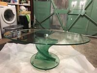 Beautiful glass spiral coffee table. Collect Only.
