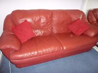 sofa 3 seater in red leather good condition. FREE to collect
