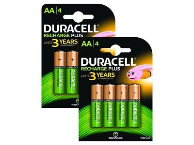 8x Duracell Plus AA Double A 1300mAh Rechargeable Battery Batteries 81367177