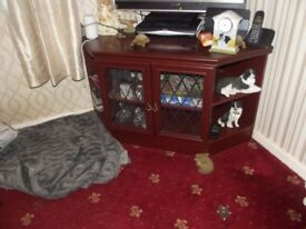 tv cabinet dark wood leaded glazed doors see other matching items