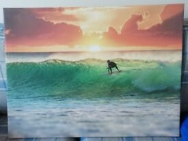 Sunset surfer canvas picture