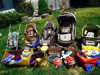 Toddler infant toys and strollers, car seats