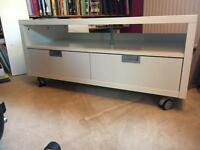 White TV unit on wheels