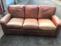 3 seater tan brown leather sofa can deliver