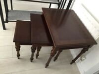3 dark brown wood coffee table / side tables