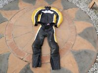 Motorcycle leathers. Retro - yellow, black and white. Hein Gericke