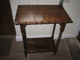 Small wooden table with barley twist legs. Ideal lamp table.Lovely as it is or can be upcycled.