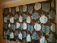 Gorgeous brown & turquoise flower curtains