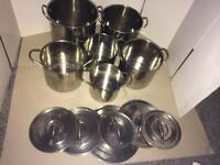 Job lot of 6 pans and 6 lids
