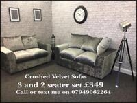 Crushed velvet 3 and 2 sofas brand new with free local delivery