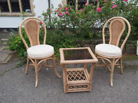 Very Stylish Cafe/Bistro Style Wicker Conservatory/Patio/Balcony Set 2 Chairs & Glass Top Table