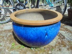 A Large Blue Ceramic Pot Planter. (Homebase)