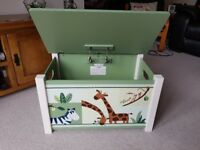 Wooden toy chest / seat in green/cream with animal prints