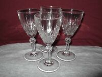 4 Crystal Sherry Glasses.