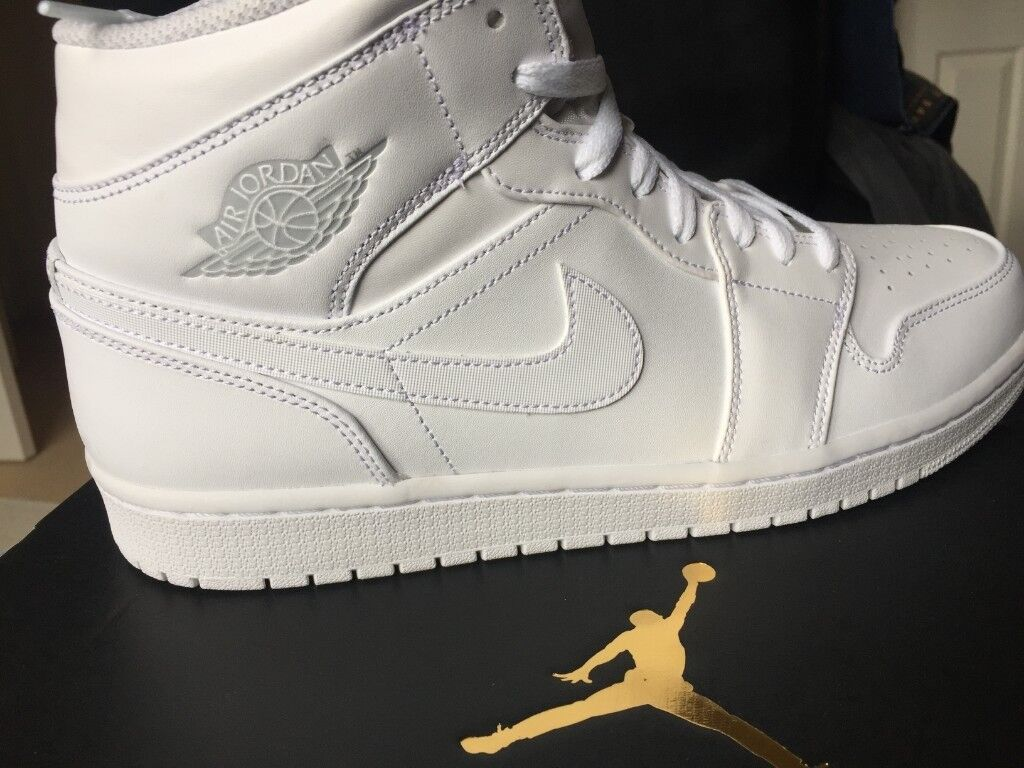 35544ae49d19 Nike Air Jordan 1 Mid White  Pure Platinum White High Tops - Size UK 10 EUR  45 - BRAND NEW WITH BOX