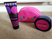 Bath and body works make up bag with body cream and body butter