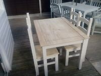Pine shabby chic table and 4 chairs