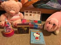 Teddy, teddy pillow, hello kitty dvd, smelly set and my little pony party hats