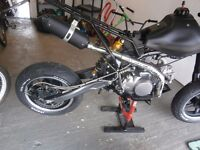 pit bike stunt wheelie hand brake set up