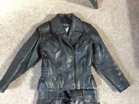 Ladies size 12 Frank Thomas Biker Jacket & leather Trousers