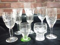 Vintage Selection of glass, including sherry, wine glasses