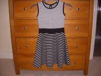 Girls Dress Back & White stripe by Lustre.
