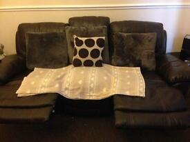2x3 seater leather recliner chocolate brown